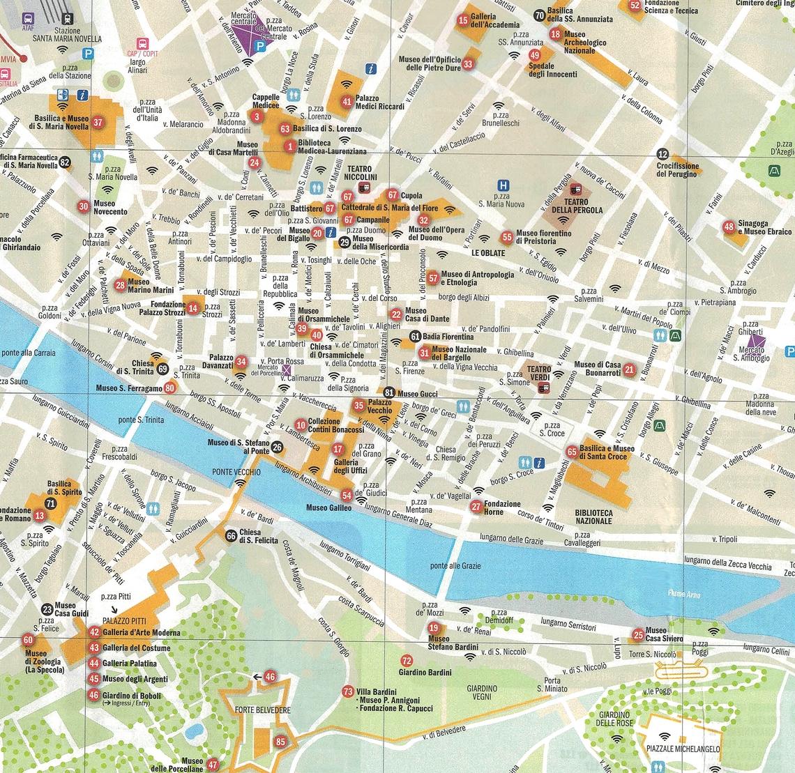 Firenze Cartina Centro Storico.Mappa Turistica Di Firenze